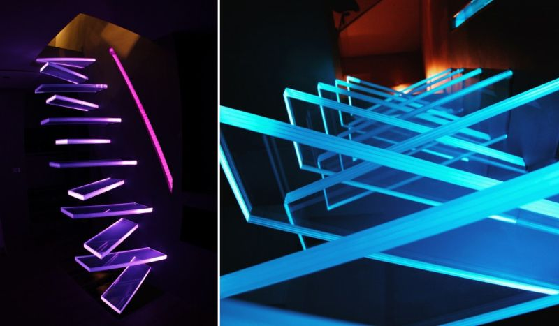 Floating glass steps with LED lights