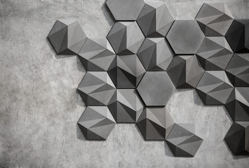 Geometric concrete wall