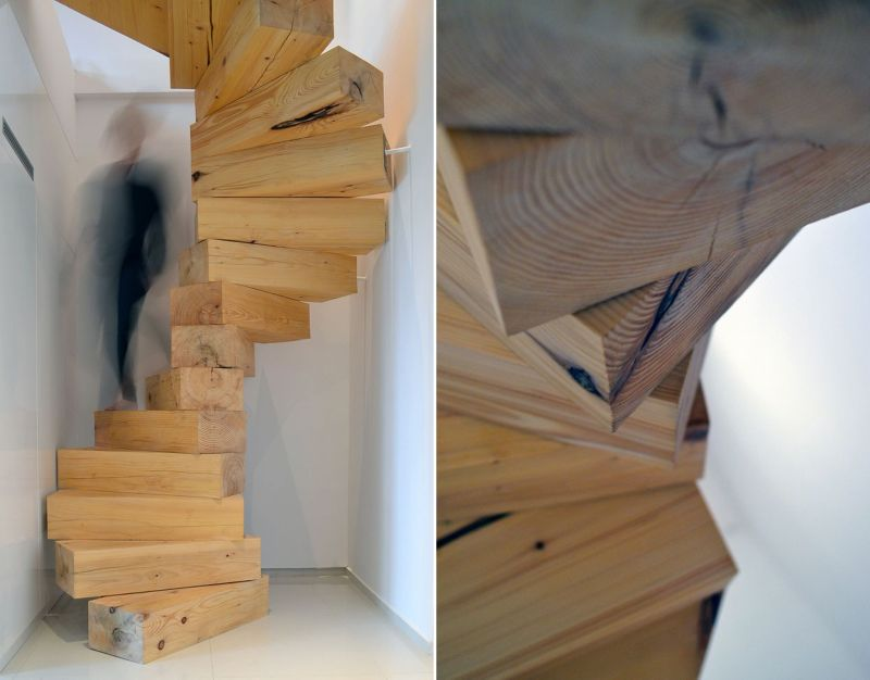 Spiral staircase made of wooden blocks