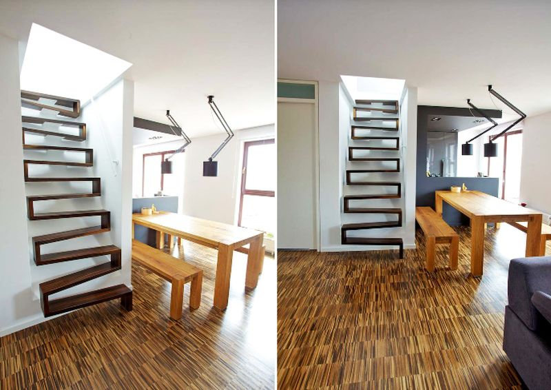 Straight wooden staircase