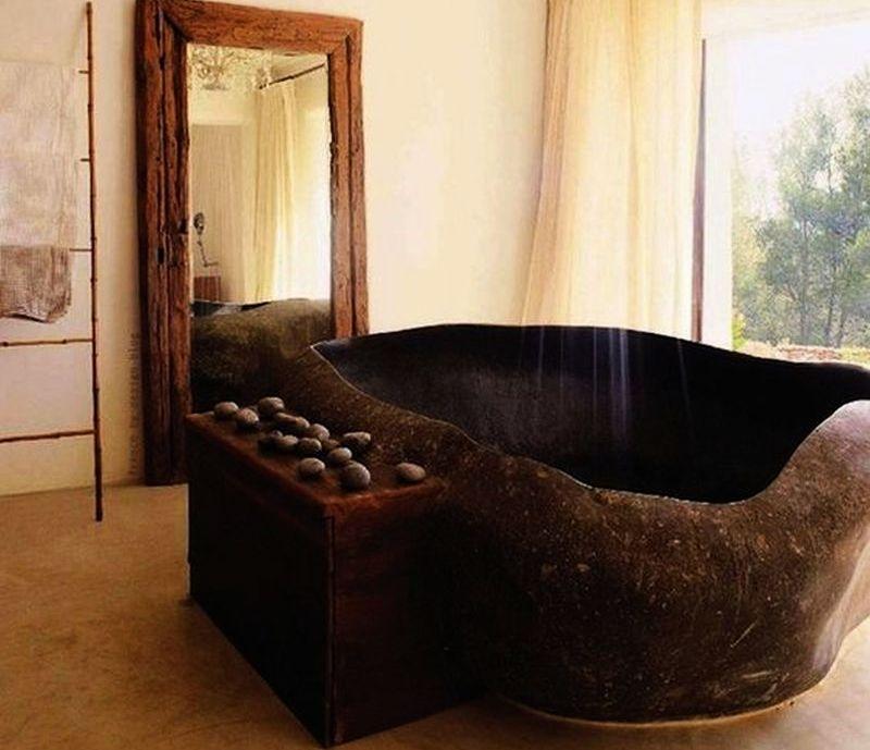 Cromatic stone huge black bathtub