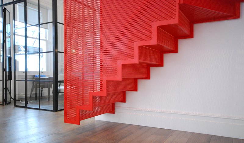 Red steel staircase by Diapo