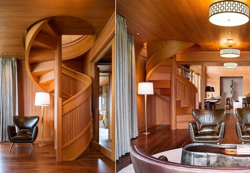 Flowing spiral wood staircase
