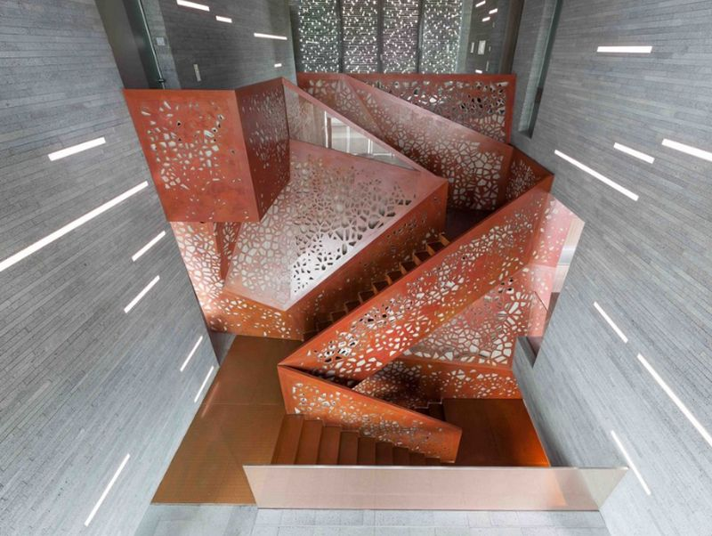 3D perforated copper staircase by Arup