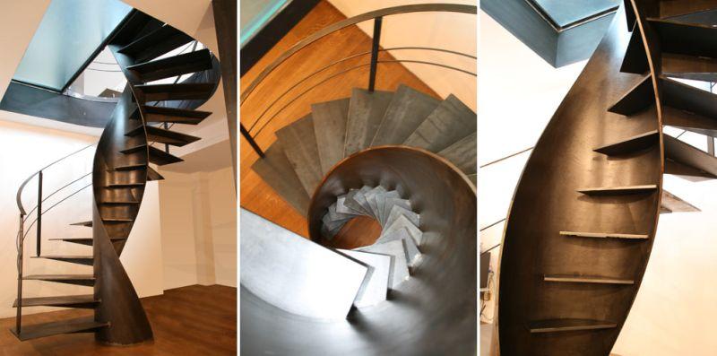 Etika metal spiral staircase by Sandrini Scale