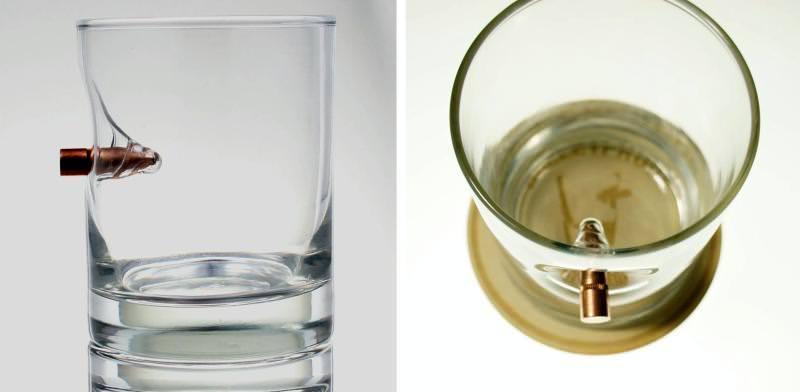 Glass with real bullet