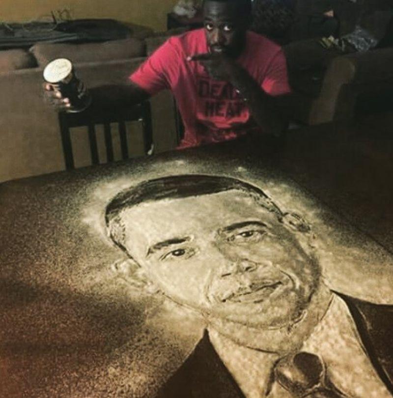 President Obama's salt portrait by Allah