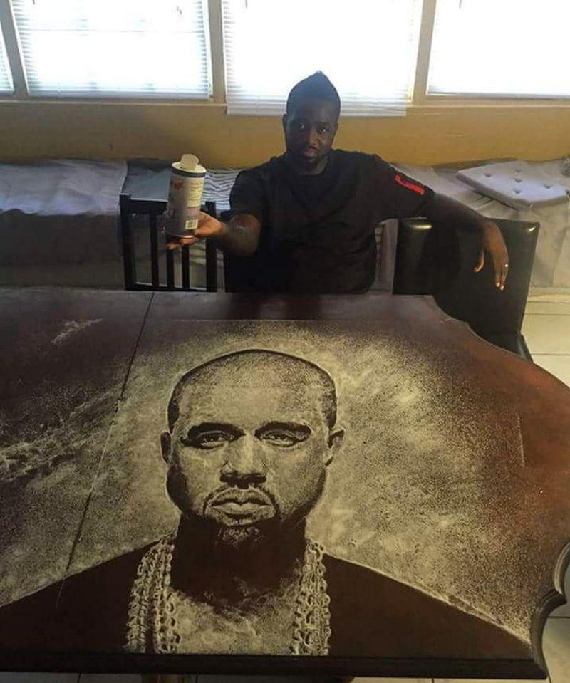 Kanye West's salt portrait by Allah
