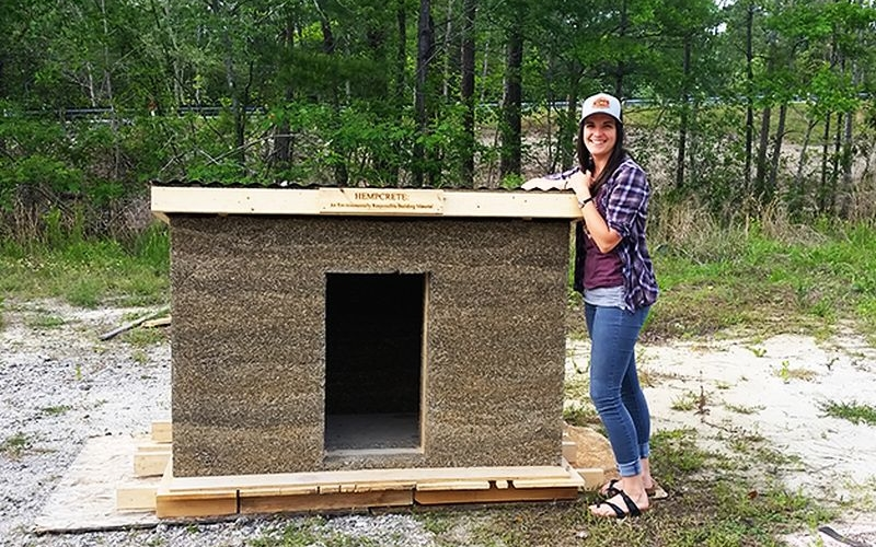 CFCC student builds sustainable doghouse from versatile hempcrete
