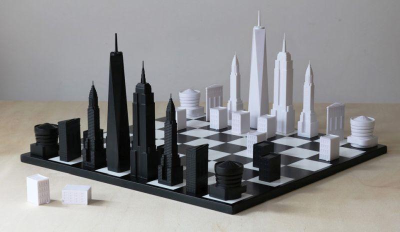Cityscape chess set