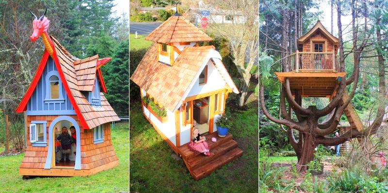 Fairy tale inspired wooden playhouses by Chris Axling