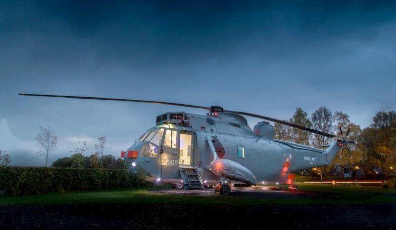 Helicopter aficionados can sleepover in this luxury helicopter hotel in Scotland