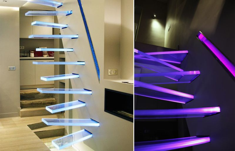 Illuminated Glass Staircase by Frédéric Hamerlak