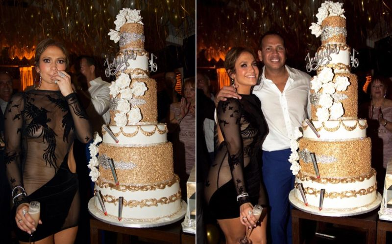 Jennifer Lopez 48th birthday cake made of edible gold and swanky crystals