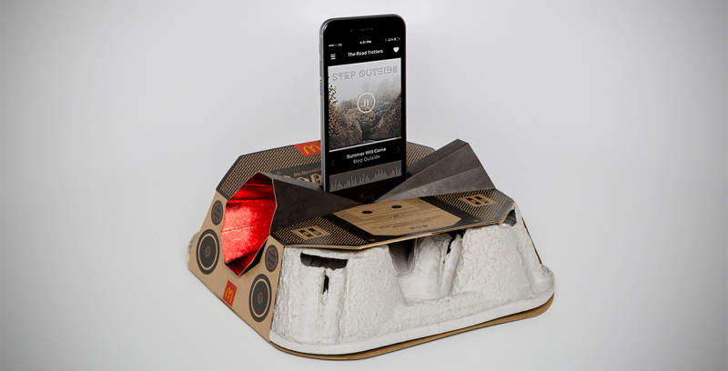 McDonald's Canada is upcycling its cardboard drink trays into speaker dock