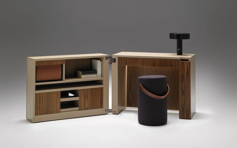 Office-in-a-Box: Cubic console opens into a functional workstation