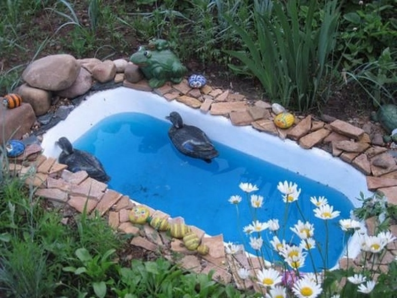 Old Bathtub turned into duck pond