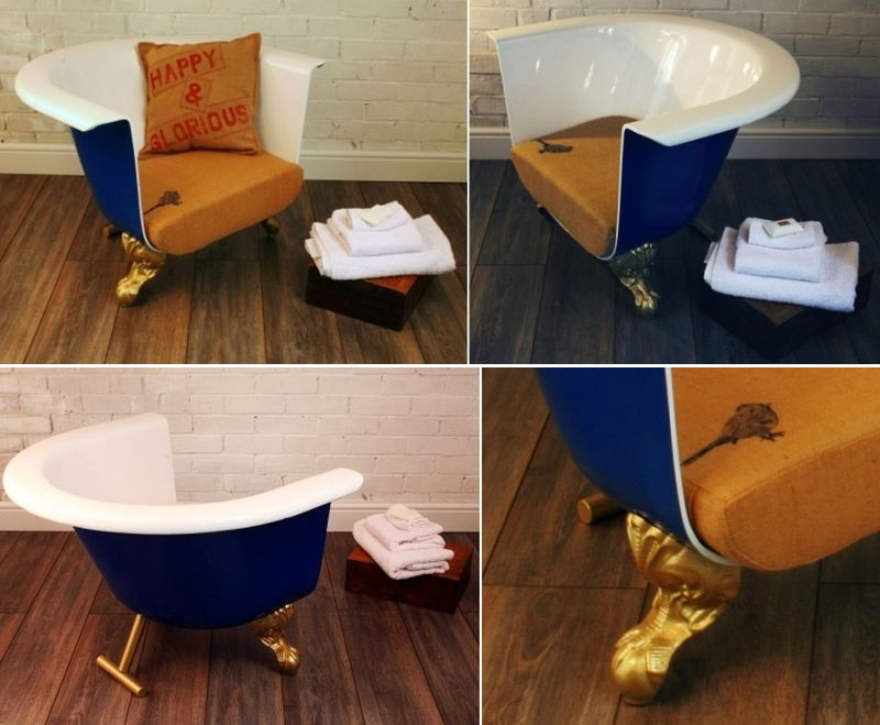 Old bathtub into cozy chair