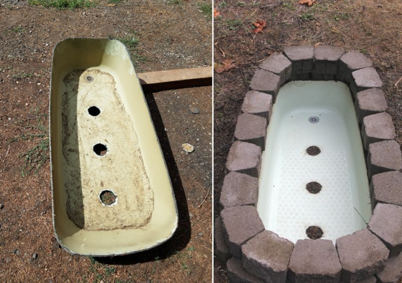 Old bathtub into fire pit