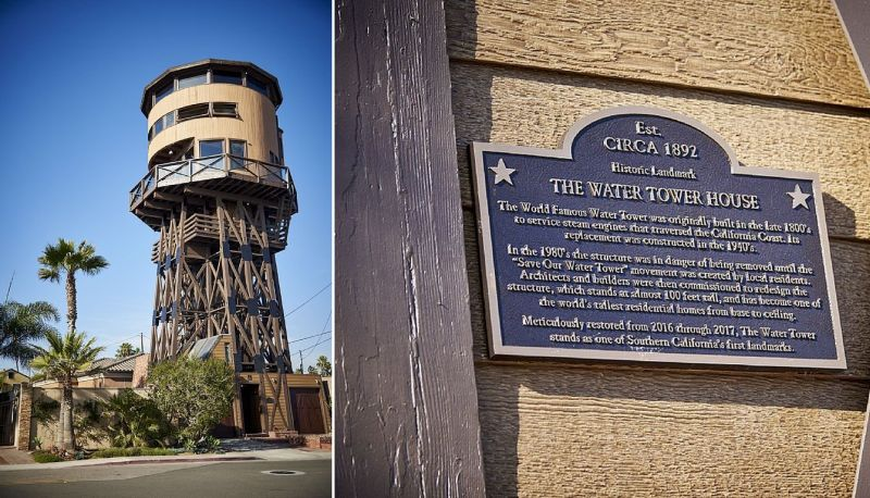 The water tower house located in the westernmost corner of Orange County, California.