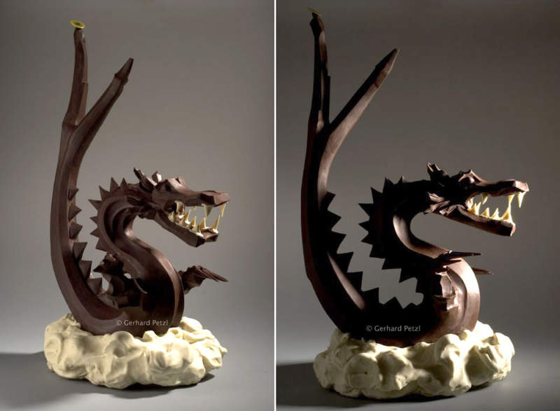 chocolate dragon sculpture