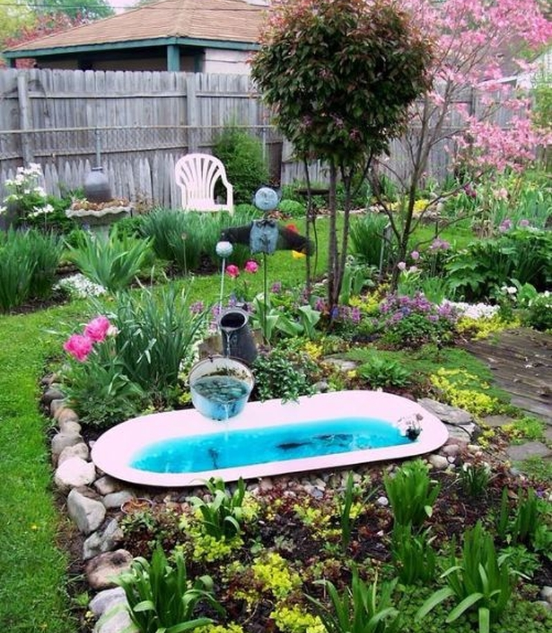 Old Bathtub turned into garden pond