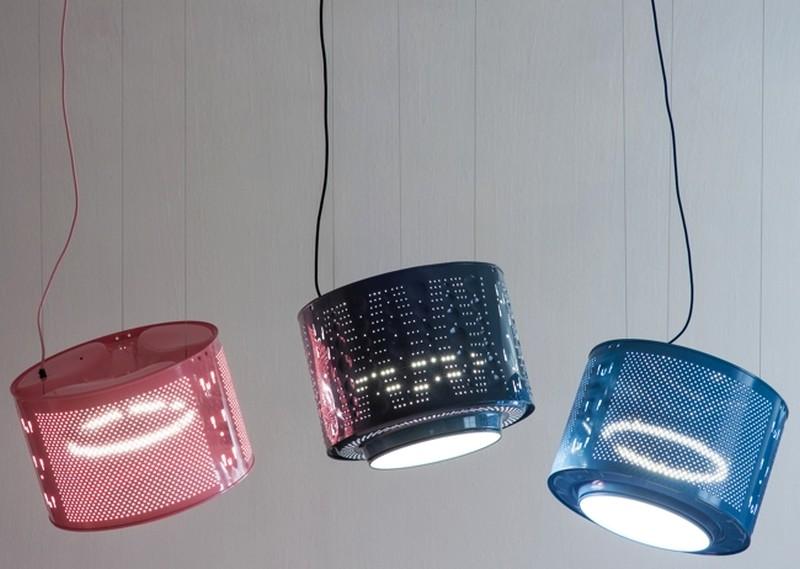 recycled washing machine drum lamp