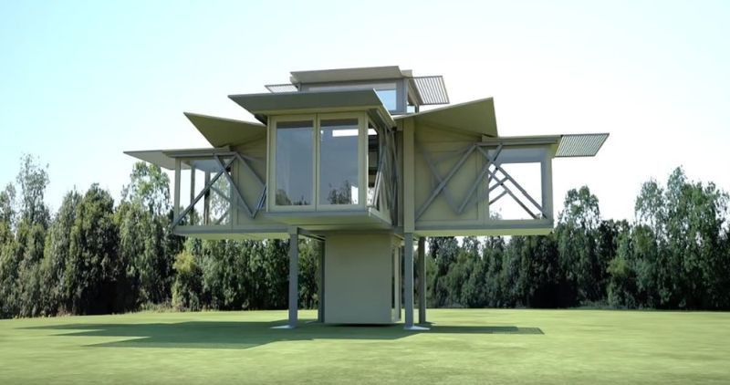 treehouse transforms into a modern home within eight seconds