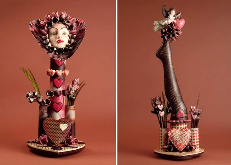 valentine chocolate sculture
