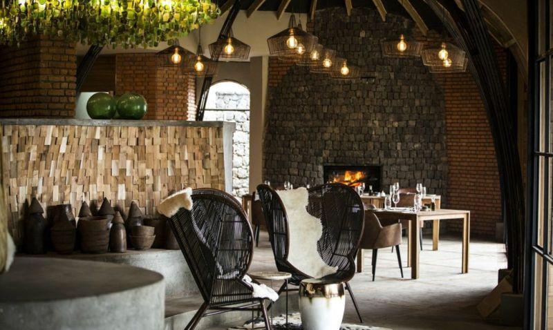 Living room Bisate Lodge Rwanda