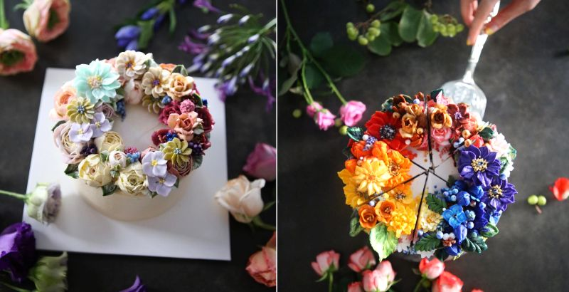 Seoul-based woman creates buttercream cakes with incredible floral details