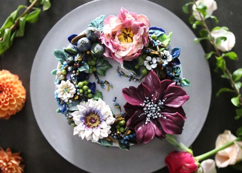 colorful floral cake