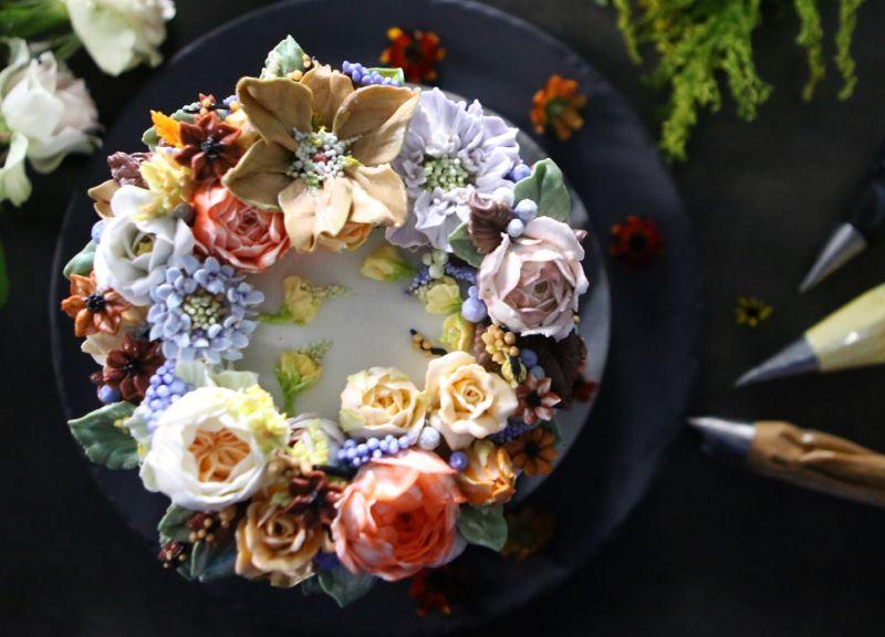 Atelier Soo's Buttercream floral cake for weddings