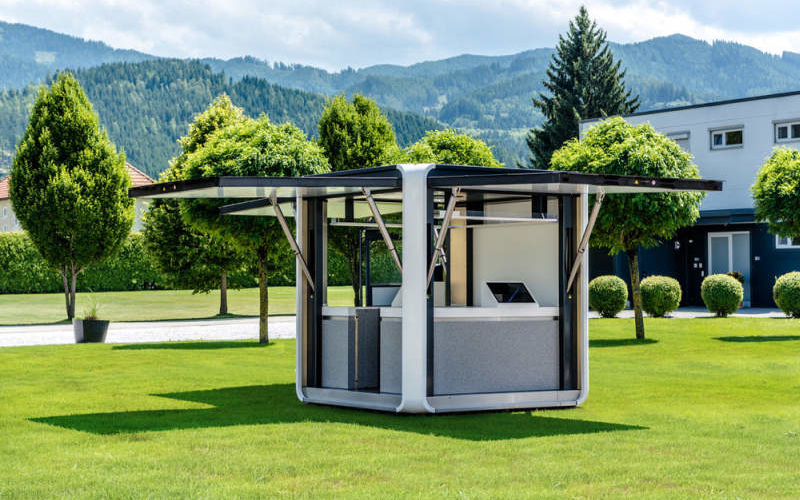 Hbt 39 s cubox is a solar powered mobile pop up kiosk for Mobili kios