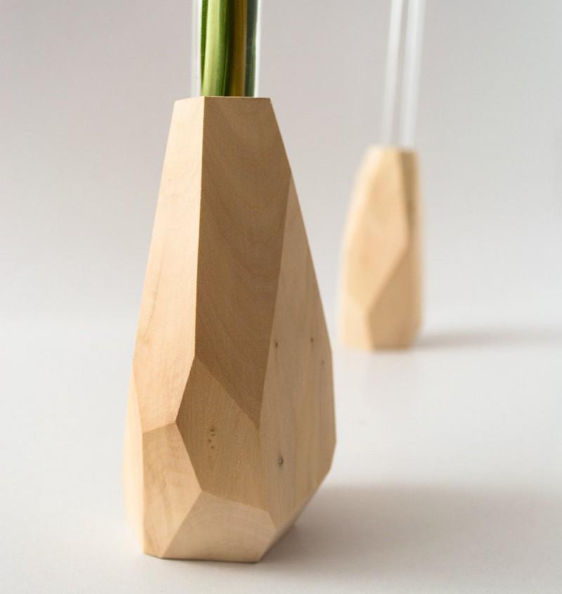 Geometric Faceted Wood Flower Vase