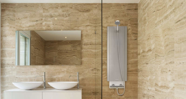 Hoterway thermal battery-powered shower column delivers instant hot water