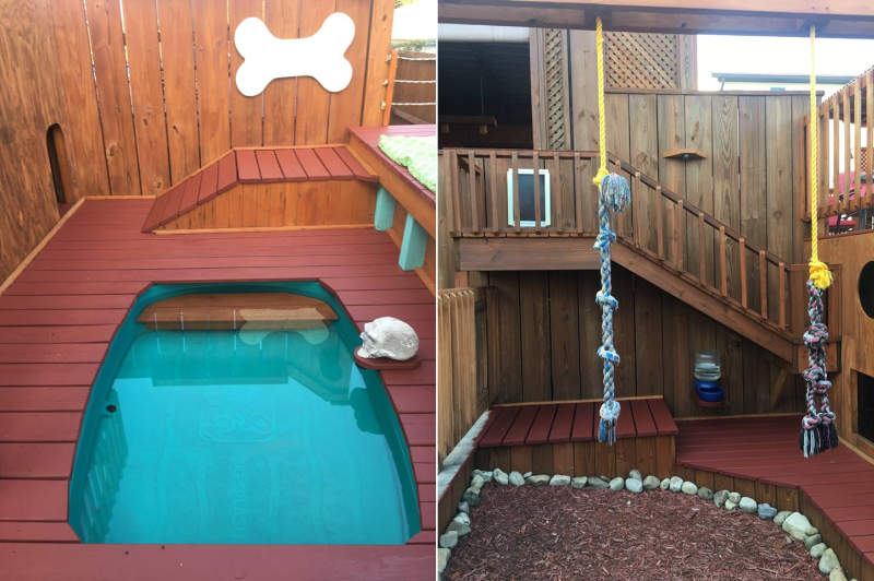 Man builds expansive dog mansion complete with pool and deck