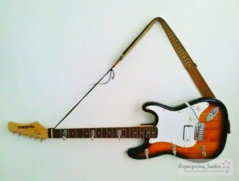 Repurposed-Electric-Guitar-into-Coat-Garment-Hat-Rack-Holde