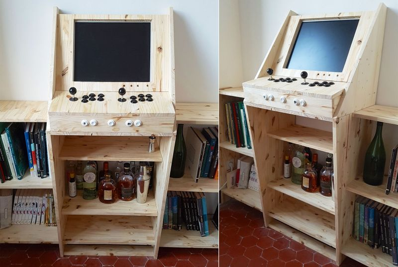 Retrogaming Arcade Cabinet has bookshelves and home bar ...