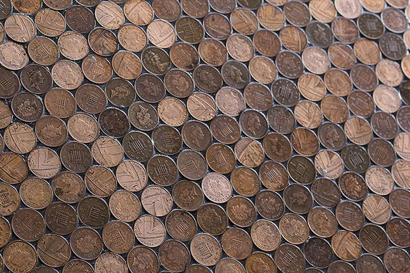 Have a look at this barber shop floor made out of 70 000 - Floor made out of pennies ...
