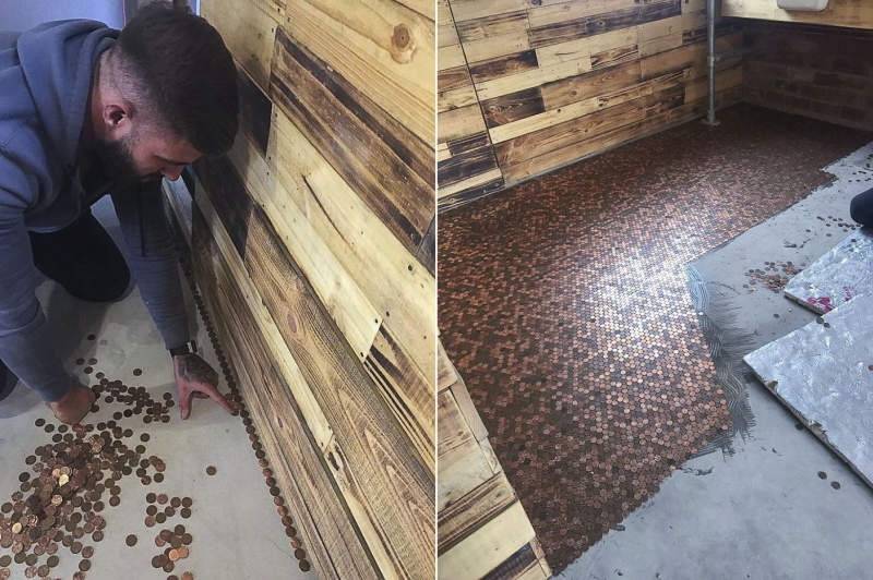 This barber shop features floor made out of 70,000 pennies