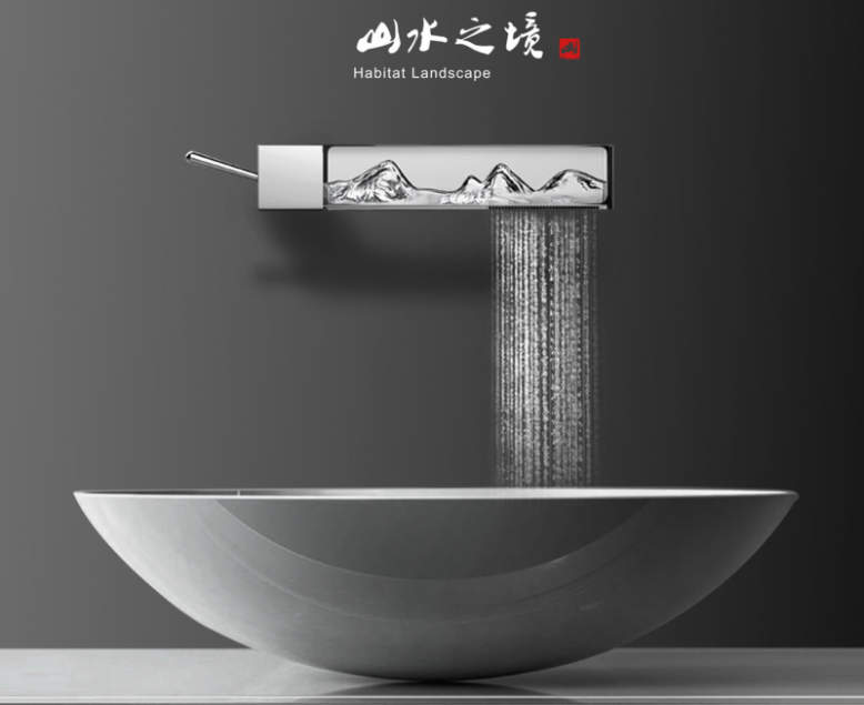 This faucet refracts light to display water as moving landscape