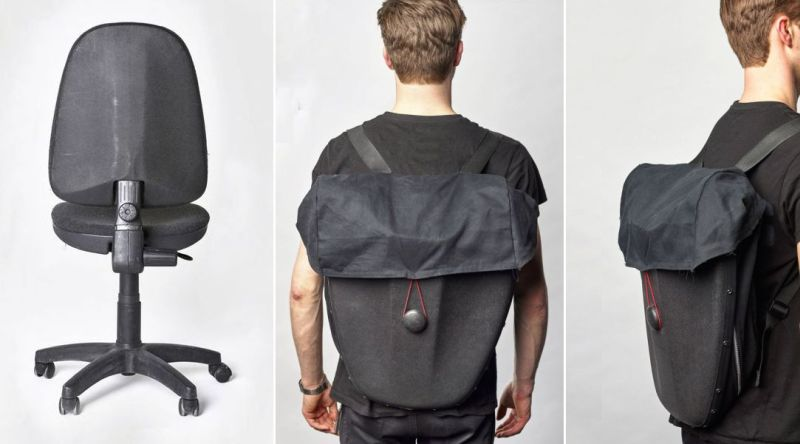Designer uses old chair to create durable backpack that doubles as bicycle pannier