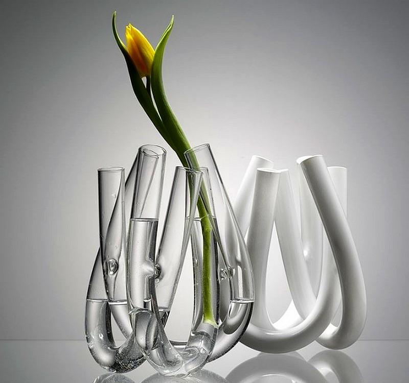U-shaped glass vase BY Jan Padrnos
