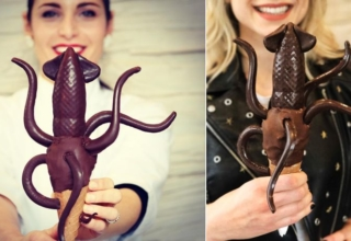 chocolate-dipped squid ice cream by Giapo Kitchen