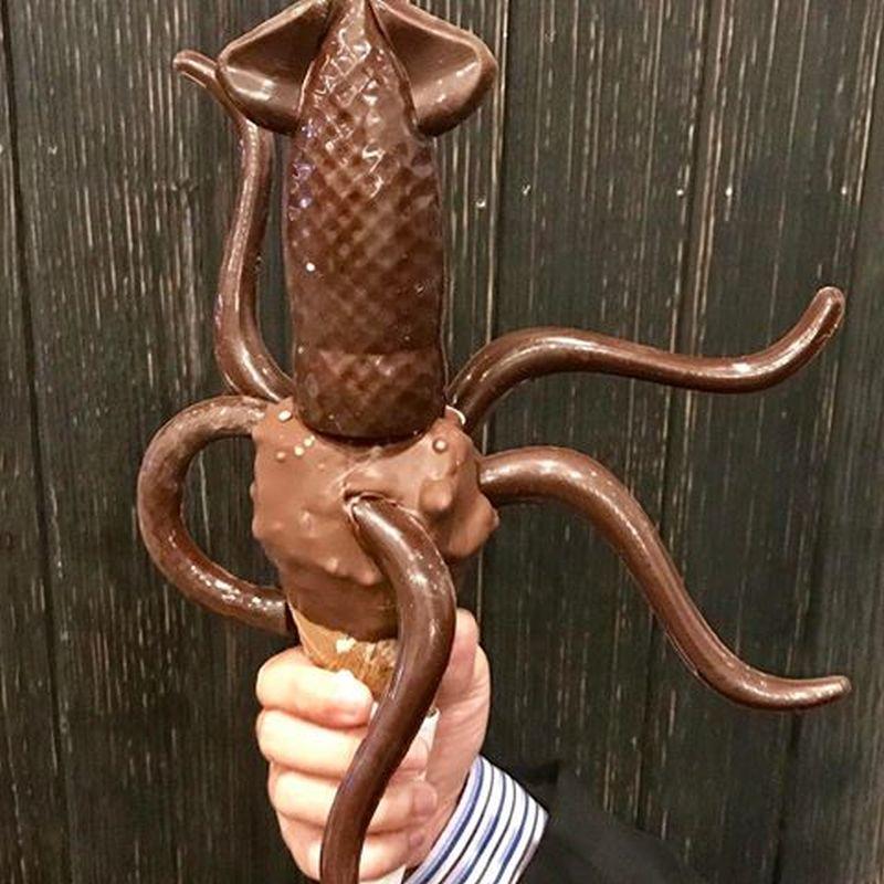 Chocolate-dipped squid ice cream