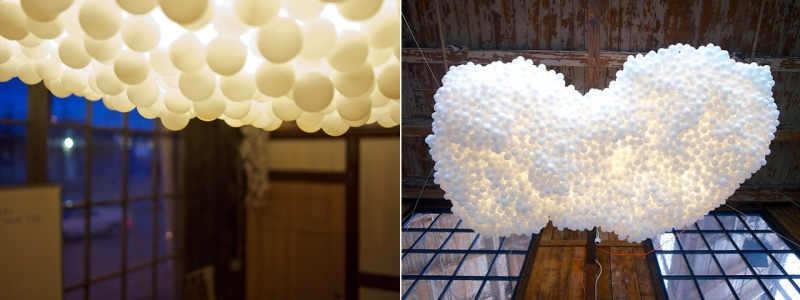 custom cloud lighting installation created for Airbnb