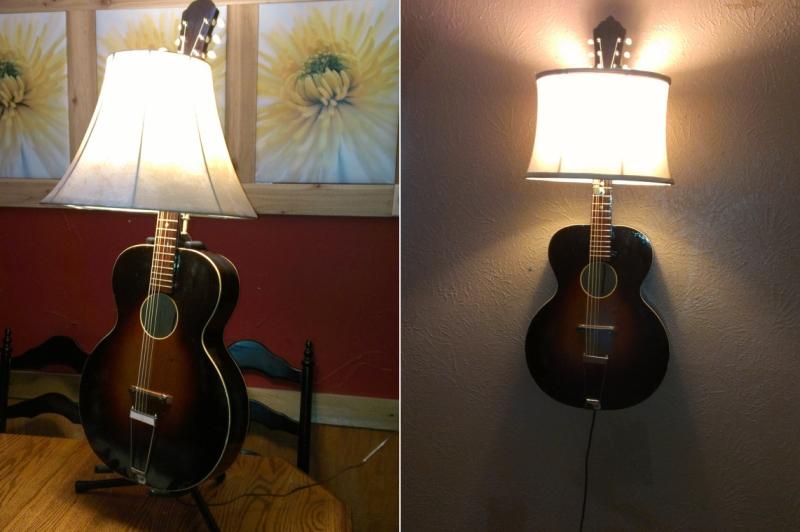 16 creative ways to recycle old guitar into beautiful home dcor items guitar light lamp guitar lamp light guitar light lamp aloadofball Gallery