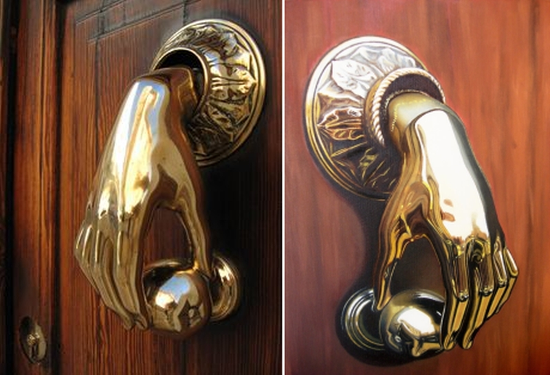 #27 The knocker handle is made in the shape of a downward bent hand holding a sphere. To knock you need to hold the hand of the knocker and shake it a ... & 32 unique door knockers that will beautify your front door