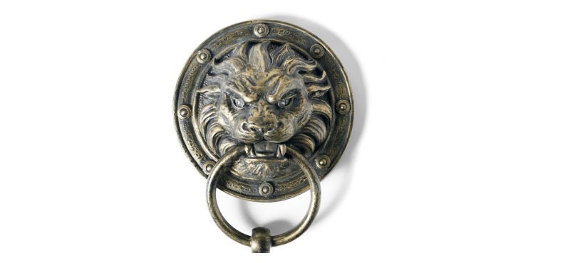 lion red eye light door knockers